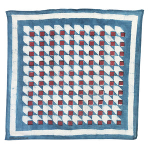 Super soft and silky hand block printed bandana. Made with mud resist and dyed in natural indigo, this red white and blue bandana is a modern twist on a classic red white and blue bandana scarf color combination.