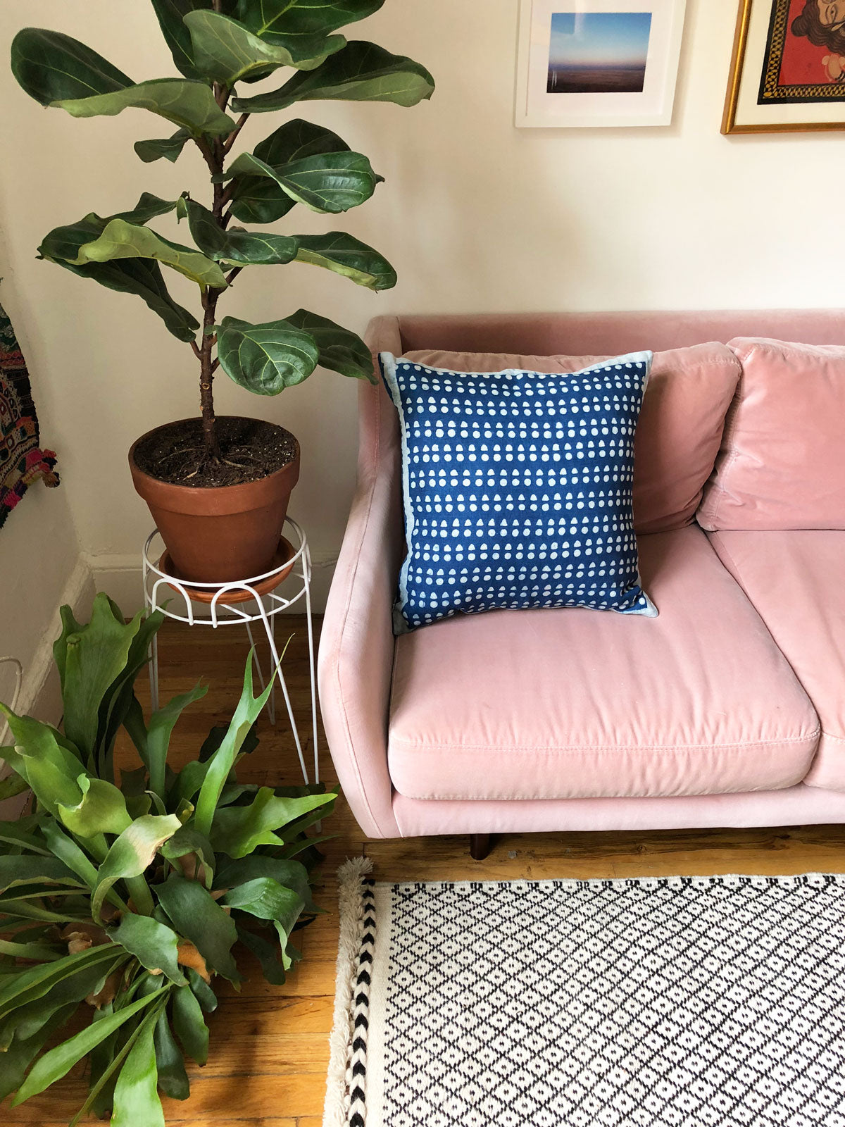 SUNDAY/MONDAY's new navy blue indigo decorative sofa throw pillow cover is hand block printed with mud resist and dyed with natural indigo. Made in Bagru, Rajasthan. Includes 100% down feather insert.