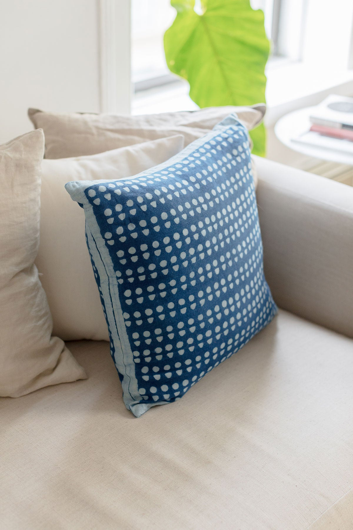 Hand block printed indigo accent throw pillow/cushion cover. Hand dyed with natural indigo and printed with a repeat geometric pattern.