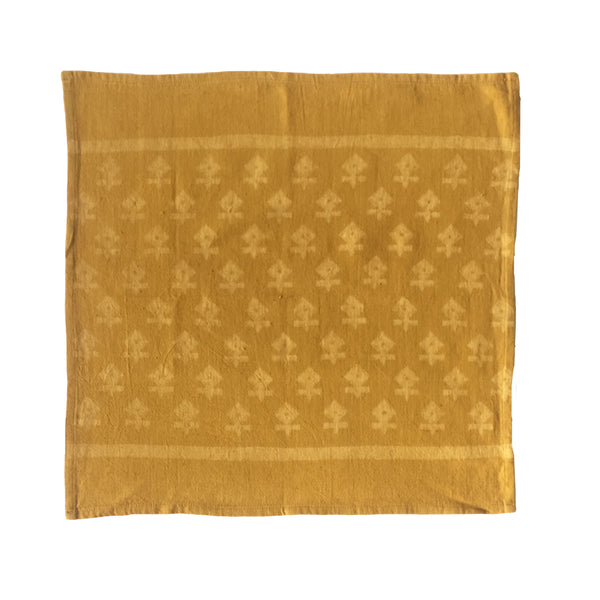 "Hand block printed mustard 18"" napkins. Made with hand spun, handwoven cotton."
