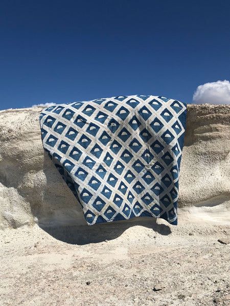 SUNDAY/MONDAY's brand new hand block printed throw. Dyed with natural indigo and hand-stitched by women in rurjal Rajasthan. Perfect for picnics, beach days, and cozying up at home.