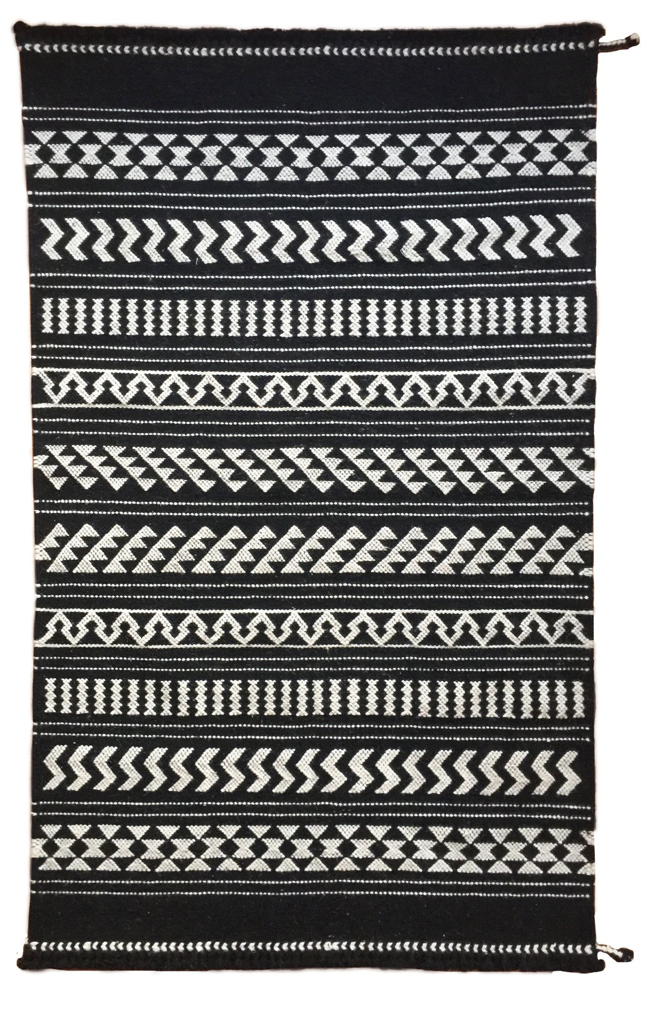 SUNDAY/MONDAY Handwoven Indian 100% Wool hand knotted Rug Textile, Kuran, made in Kutch, Gujarat Black and White, featuring graphic traditional indigenous Indian motifs