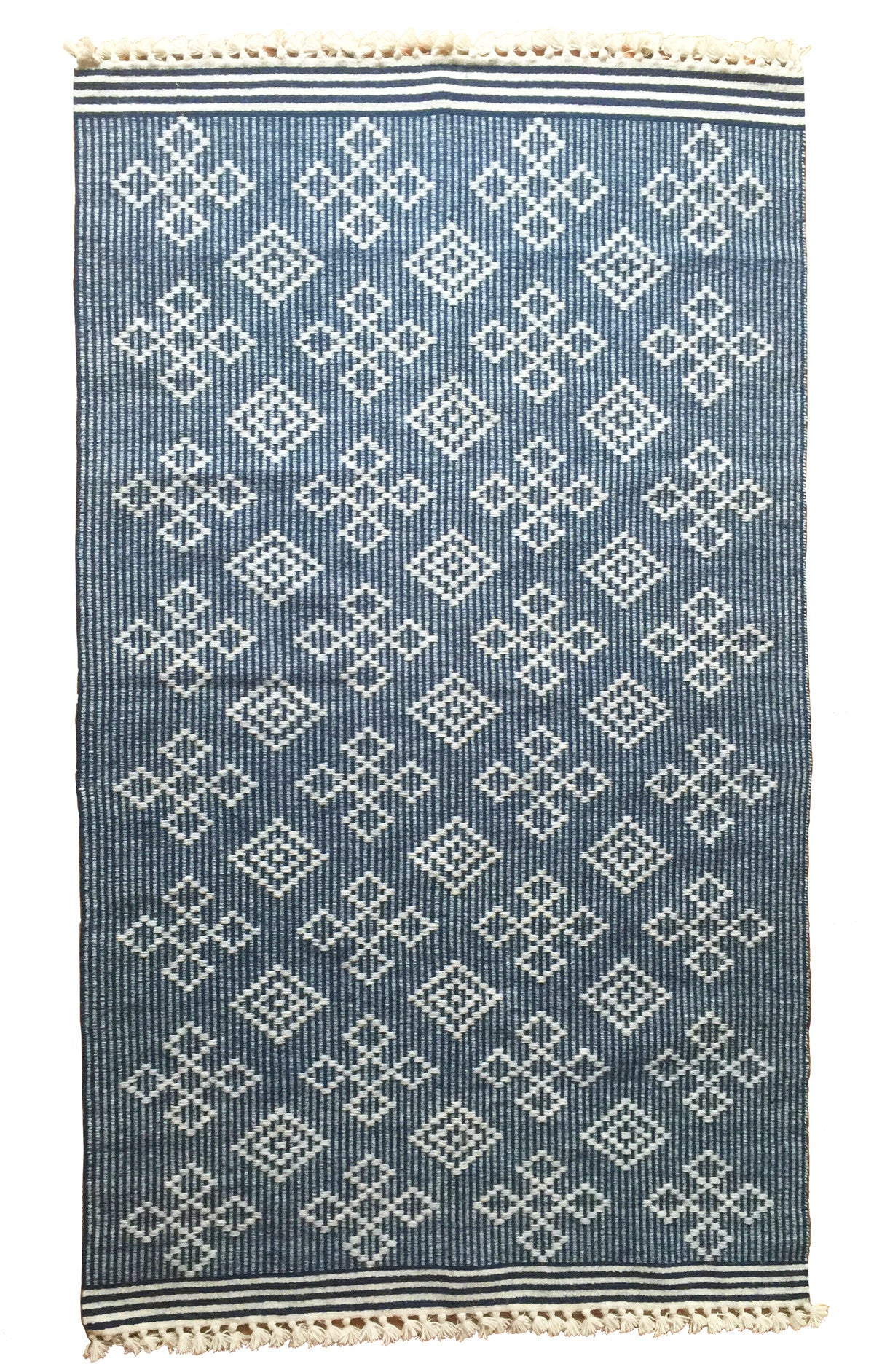SUNDAY/MONDAY Handwoven Indian 100% Wool Rug Textile, Kuran, made in Kutch, Gujarat. Navy blue flatweave statement rug.