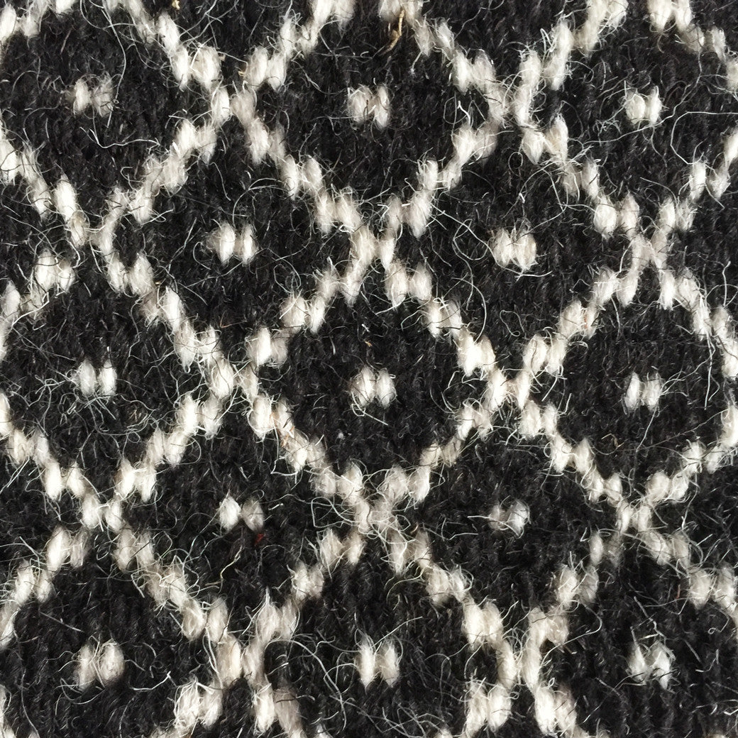 Handwoven 100% wool Indian Flatweave Rug, Rann in Black, Black and white wool area rug made in tribal indigenous lattice diamond.  Handmade in Kutch, Gujarat