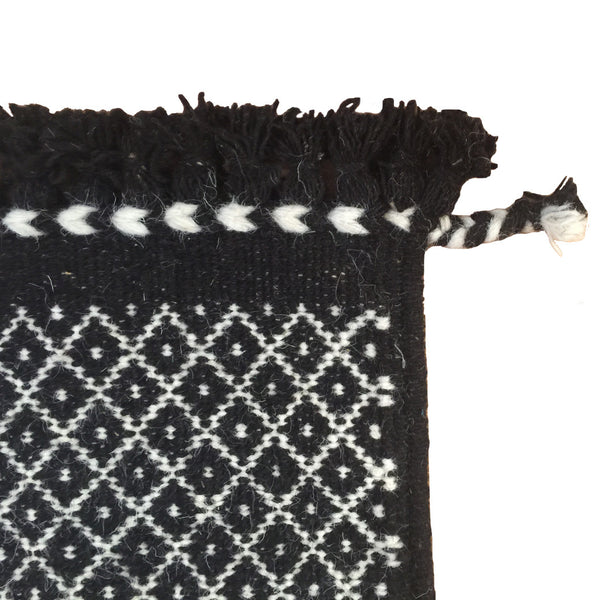 SUNDAY / MONDAY Handwoven 100% Wool Indian Flatweave Rug, Rann in Black, Black and white wool area rug made in tribal indigenous lattice diamond.  Handmade in Kutch, Gujarat