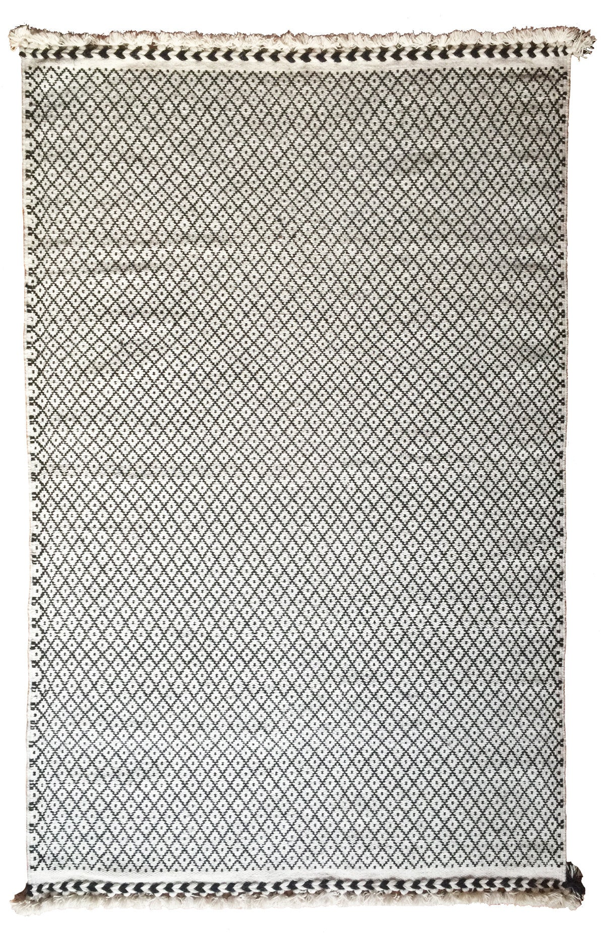 SUNDAY / MONDAY Handwoven 100% Wool Indian Flatweave Rug, Rann in White, Black and white wool area rug made in tribal indigenous lattice diamond.  Handmade in Kutch, Gujarat