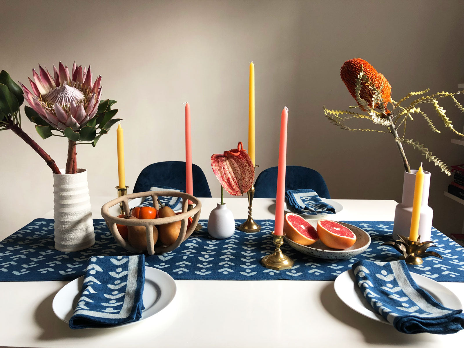 Upgrade your table top decor with SUNDAY/MONDAY's Egret table runner. It's hand block printed with mud resist and dyed with natural indigo. Adds a cheery elegance to any dining space.