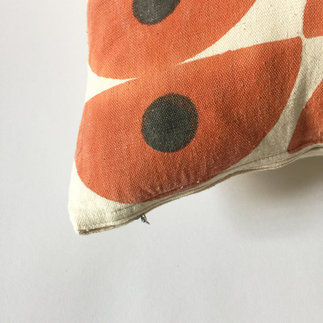 Our hand block printed pillows have a matching hidden zipper and come with an American made down insert. Ethically made in India.