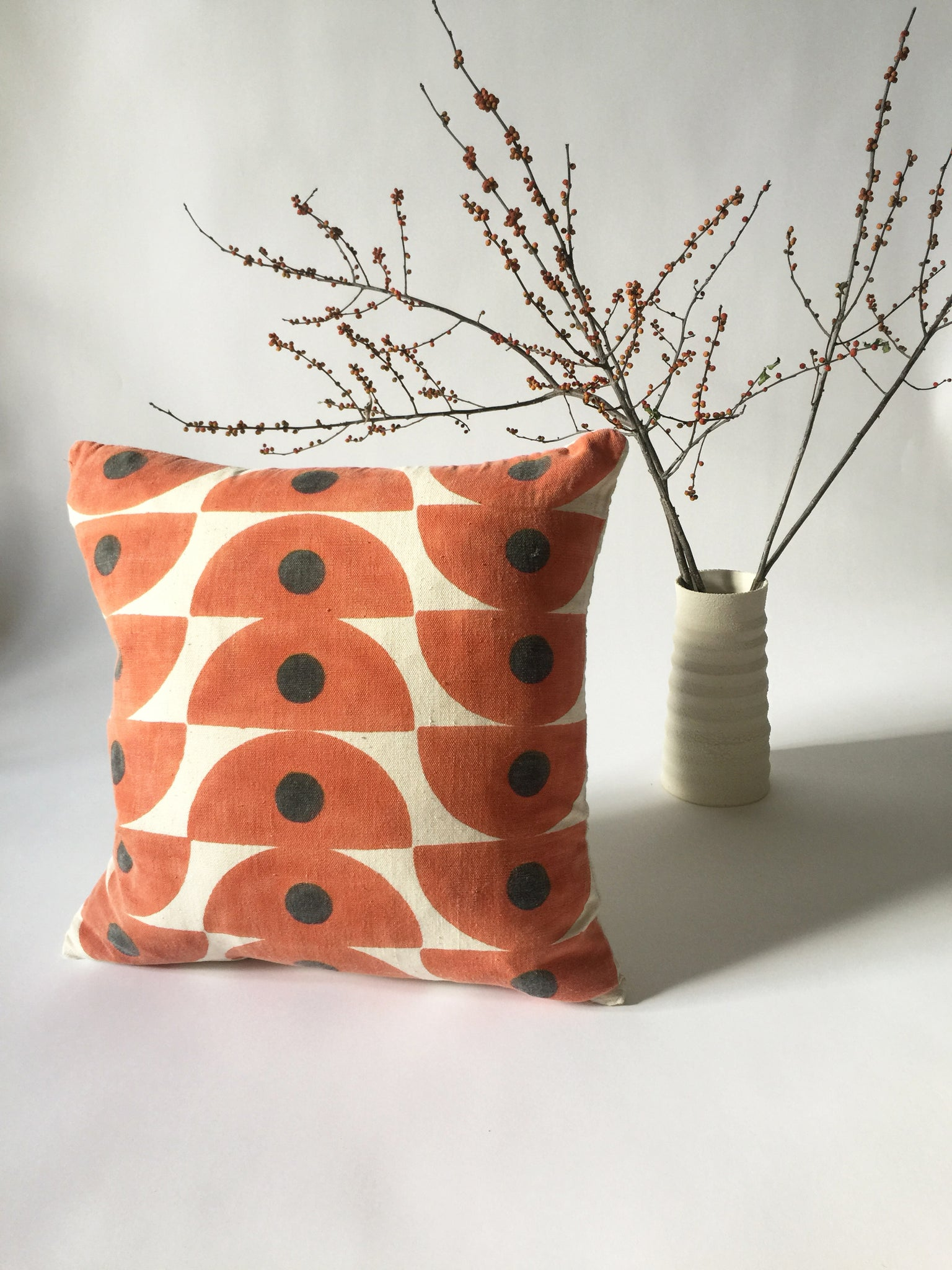 The perfect bright neutral pillow for any room. Hand block printed on hand spun, handwoven cotton. Ethically handmade in India.