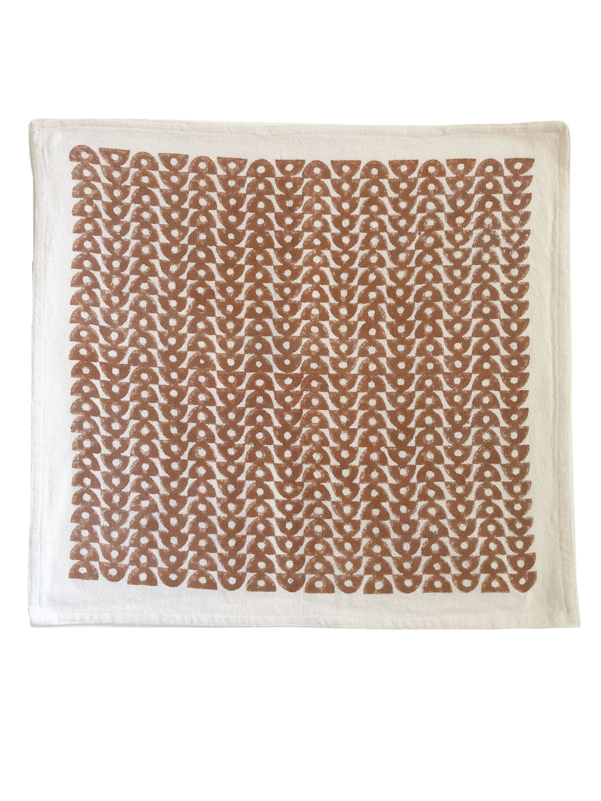 Hand block printed cloth table napkin by SUNDAY/MONDAY in an elegant half moon design. The warm chestnut brown pairs with most tables and linens.