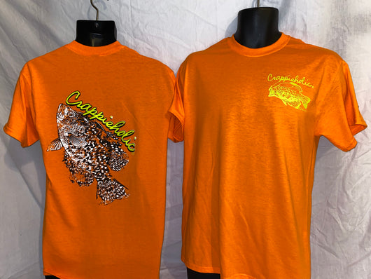 Crappieholic Big Fish Tee Orange