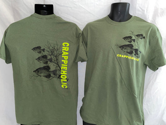 Crappieholic New School Military Green Tee