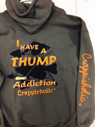 Crappieholic Hoodie Charcoal Thump Addiction