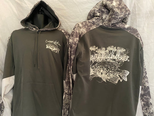Crappieholic Drifit hoodie smoke color