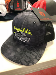 Crappieholic Richardson Kryptek Camo meshback snap back cap