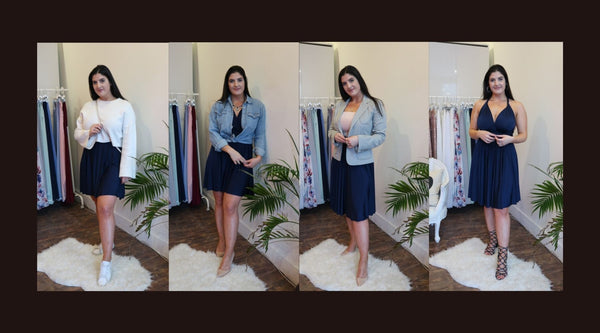 Woman with black hair in Henkaa navy blue Sakura Midi Infinity dress 4 different ways for spring 2019.