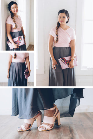 Sandy A La Mode blogger wears the Henkaa Sakura Midi infinity dress in Blush Pink with a Henkaa Charcoal Grey Hana Chiffon Maxi Convertible Skirt Overlay overtop.