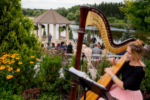 Henkaa A Bride's Story: Diana & Jas. Harpist at outdoor wedding ceremony at Royal Ambassador Greenhouse Ontario.