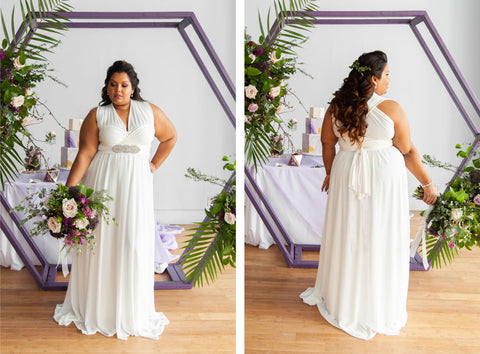 Plus size bride wears Henkaa's Sakura Chiffon Convertible Wedding Dress.