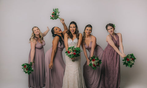 Models wearing the Henkaa convertible dress collection in Mauve Taupe, convertible dresses are perfect for bridal parties.