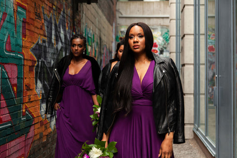 Henkaa Fall/Winter 2019 Lookbook featured our Plum Purple Convertible Dresses as seen on two black models in leather jackets.