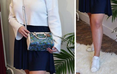 Image collage of women wearing Henkaa convertible dress with white cropped sweater and accent Coach purse.