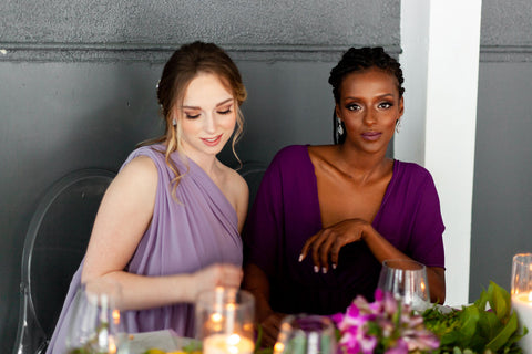 Henkaa Daffodil Chiffon Convertible dresses in Dusty Purple and Plum Purple worn on mixed models.