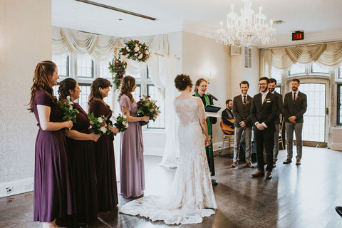 Averie MacDonald and Bled Celhyka share vows during their wedding ceremony at The Estates of Sunnybrook in Toronto, Canada.