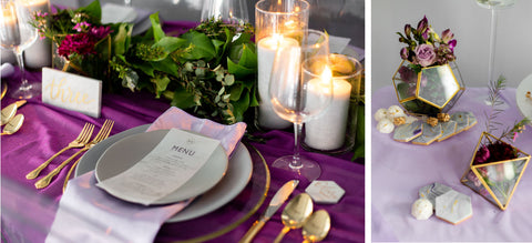 Gold cutlery stands out on this plum purple tablescape provided by Suzette Patrice Events and styled by Michelle Rabbit Events.