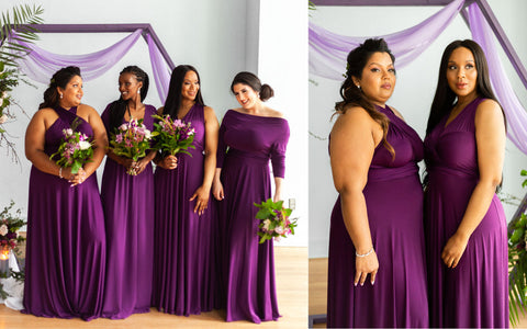 Bridesmaids wearing Henkaa Plum Purple Sakura, Iris and Daffodil Convertible Dresses.