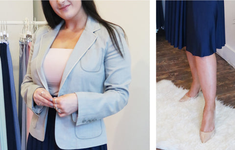 Business women in light blue blazer and Henkaa nude champagne convertible bandeau and nude heels for spring workwear.