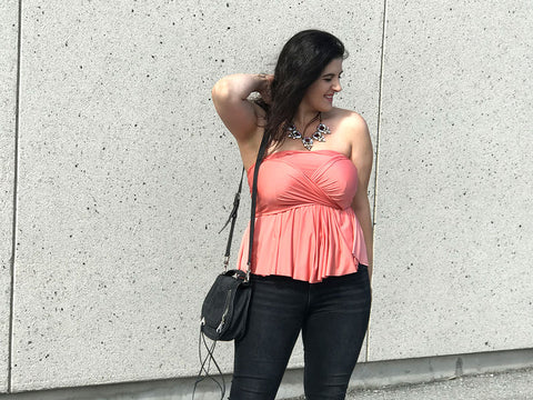 Henkaa Sakura Convertible Top in Peach Pink Coral