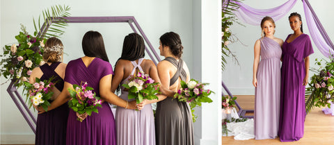 Models hold bouquets provided by Hana Florals in Purple Ombré convertible dresses.