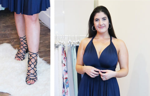 Image collage of woman with black hair getting ready for a spring date night in a Henkaa Sakura Midi navy blue convertible dress and navy blue gladiator style heels
