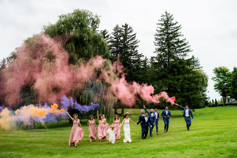 Henkaa A Bride's Story: Diana & Jas. Bridal party in Dusty Rose Sakura Maxi convertible dresses. Wedding party running through smoke bomb in valley.