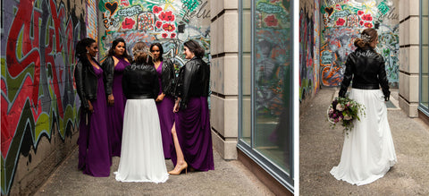 A bridal party in plum purple Henkaa convertible dresses join Henkaa bride in the graffiti alley ouside The Richmond gallery space in Toronto Canada.