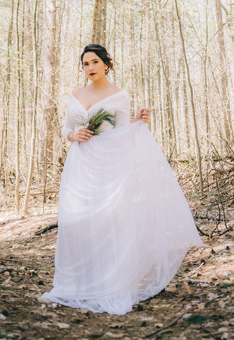 Women wears Henkaa iris Peony Convertible Wedding Dress in a woods, affordable wedding dresses under $400