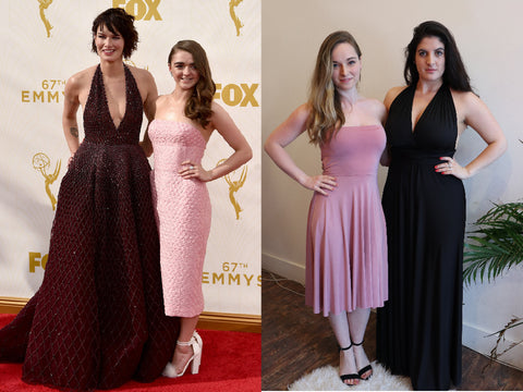 Game Of Thrones actresses Lena Headey and Maisie Williams, at the 2015 Emmy awards. Outfits replicated using Henkaa convertible dresses.