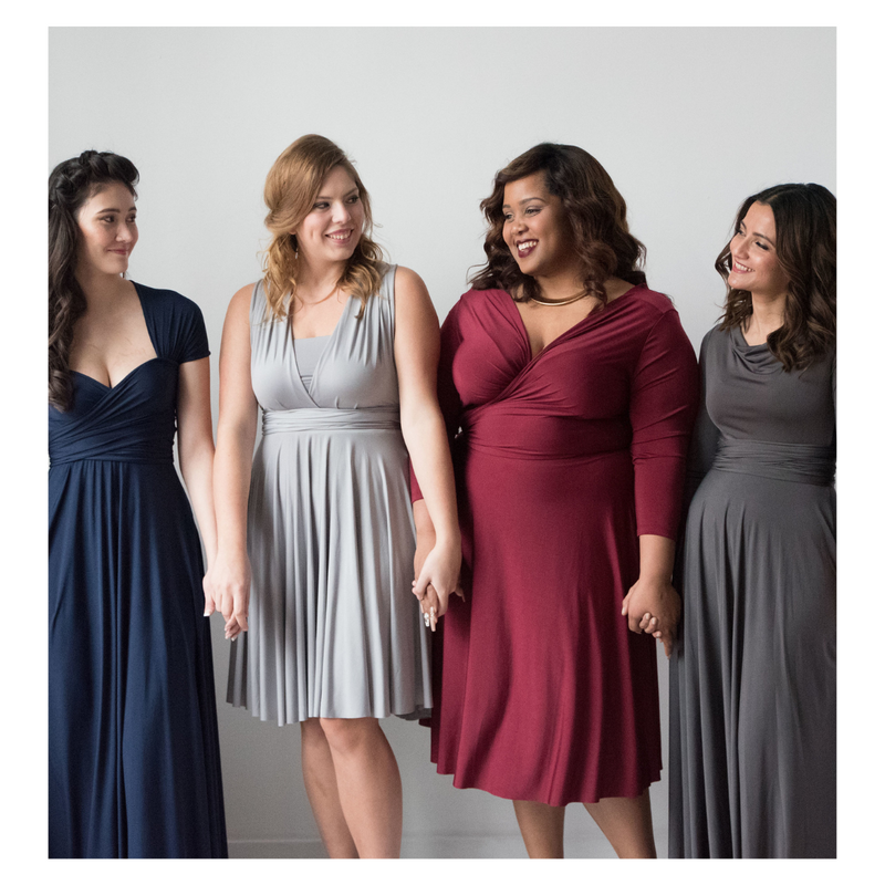 Henkaa Convertible Dresses Sakura and Iris in Navy Blue, Silver Grey, Brugundy Wine, and Charcoal Grey in Midi and Maxi lengths