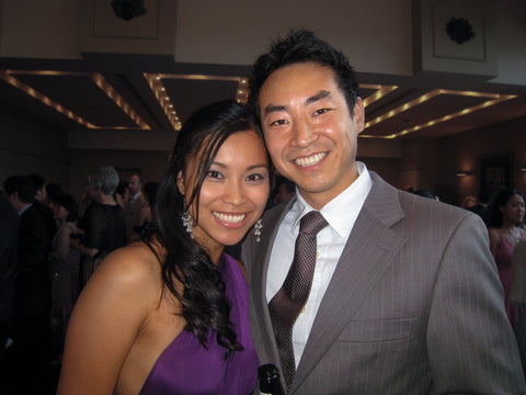 Henkaa's late CEO and Founder Joanna Duong Chang and husband Stan Chang together at Sonia's wedding. Joanna is wearing the first Henkaa Sakura convertible dress prototype in Plum Purple.