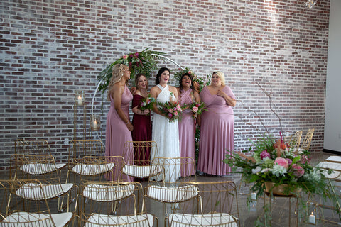 2020 Wedding Trend Report: Henkaa Dusty Rose and Burgundy Wine Sakura Convertible Bridesmaid Dresses and Sakura Lace Convertible Wedding Dress perfect for 2020 weddings.