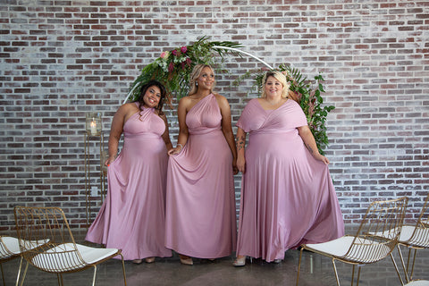 2020 Wedding Trend Report: Henkaa Dusty Rose Sakura Maxi Convertible Dresses on 3 models, bridesmaid dresses you can wear again, a sustainable option.