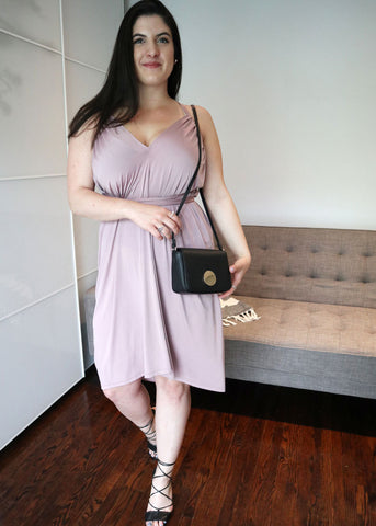 Henkaa Ivy Midi Convertible Dress in Mauve Taupe perfect for a night out.
