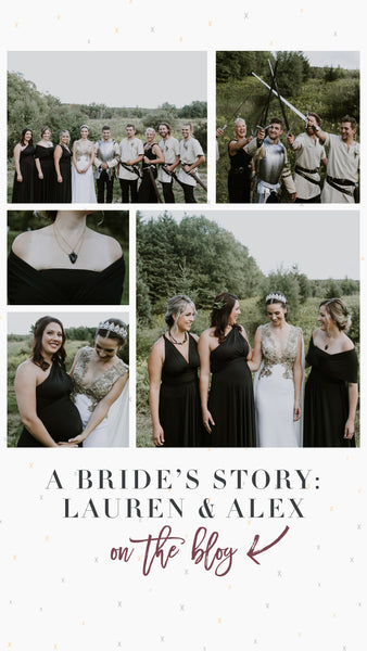 Henkaa A Brides Story featuring Henkaa Night Black Sakura Maxi in modern medieval wedding in Caledon Ontario
