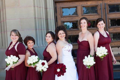 burgundy wine bridesmaids bridal party