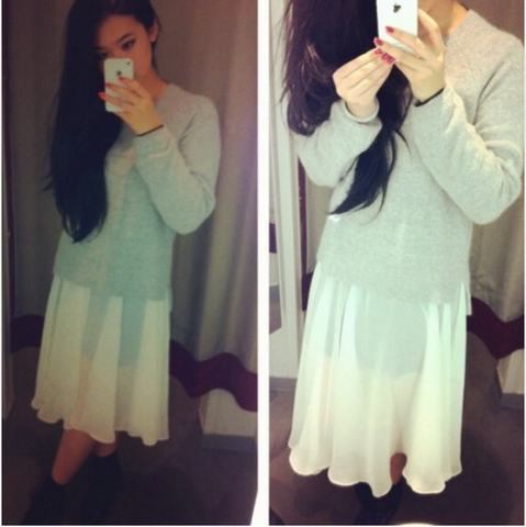 @michibabie wears a Pure Ivory Henkaa Chiffon Convertible Overlay over her skirt and under a grey sweater for Spring!