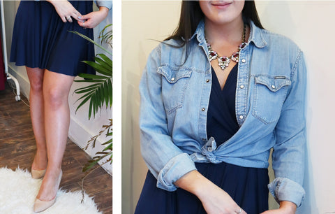 Image collage of woman in navy blue Henkaa Sakura Midi multiway dress with chambray shirt over top, accent necklace, and nude heels.