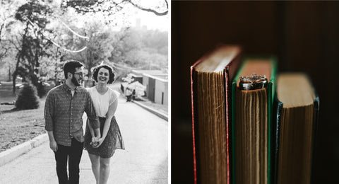 Averie MacDonald and fiancé Bled Celhyka walk hand in hand for their engagement shoot. Right image is of Averie's ring set on a stack of books.