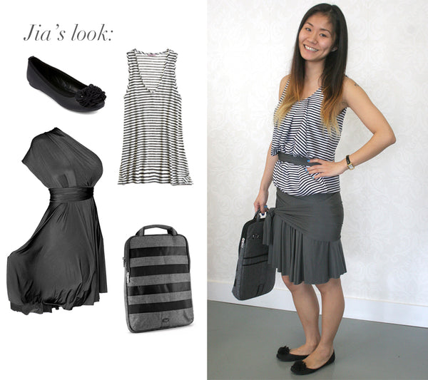 convertible dress for work - charcoal grey convertible dress