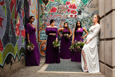 2020 Wedding Trend Report: Henkaa Plum Purple Convertible Dresses and the Iris Chiffon Convertible Wedding Dress, 80's revival for 2020 weddings